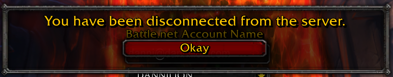 You have been disconnected from the server.
