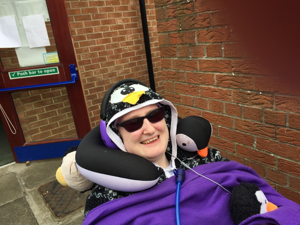 Danni in their wheelchair outside the Polling Station