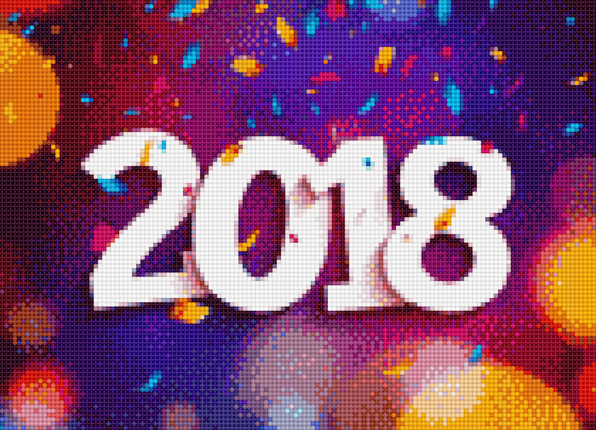 A virtual cross stitch pattern, mostly pink and purple with large white numbers saying 2018.
