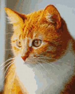 A virtual cross stitch picture of an orange cat.
