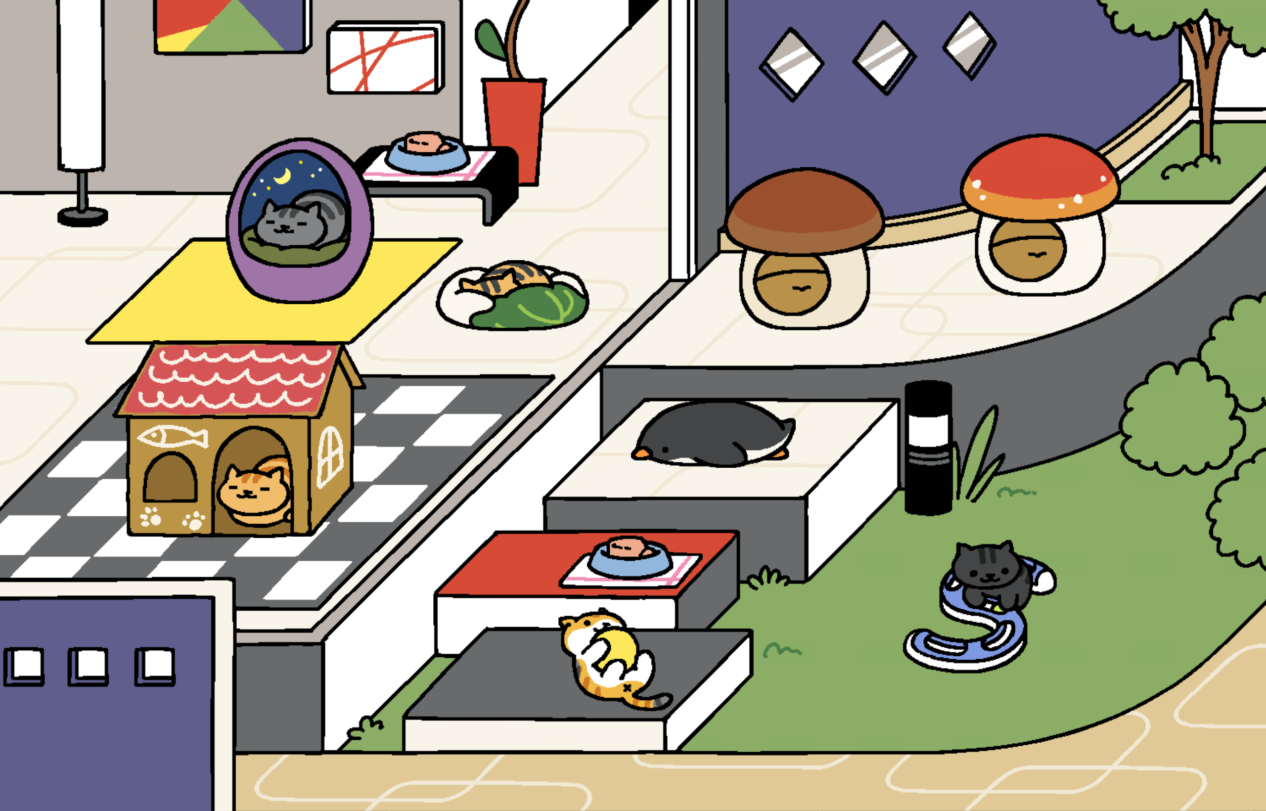A colourful house and garden with various items placed. There are different cats interacting with some of the items.