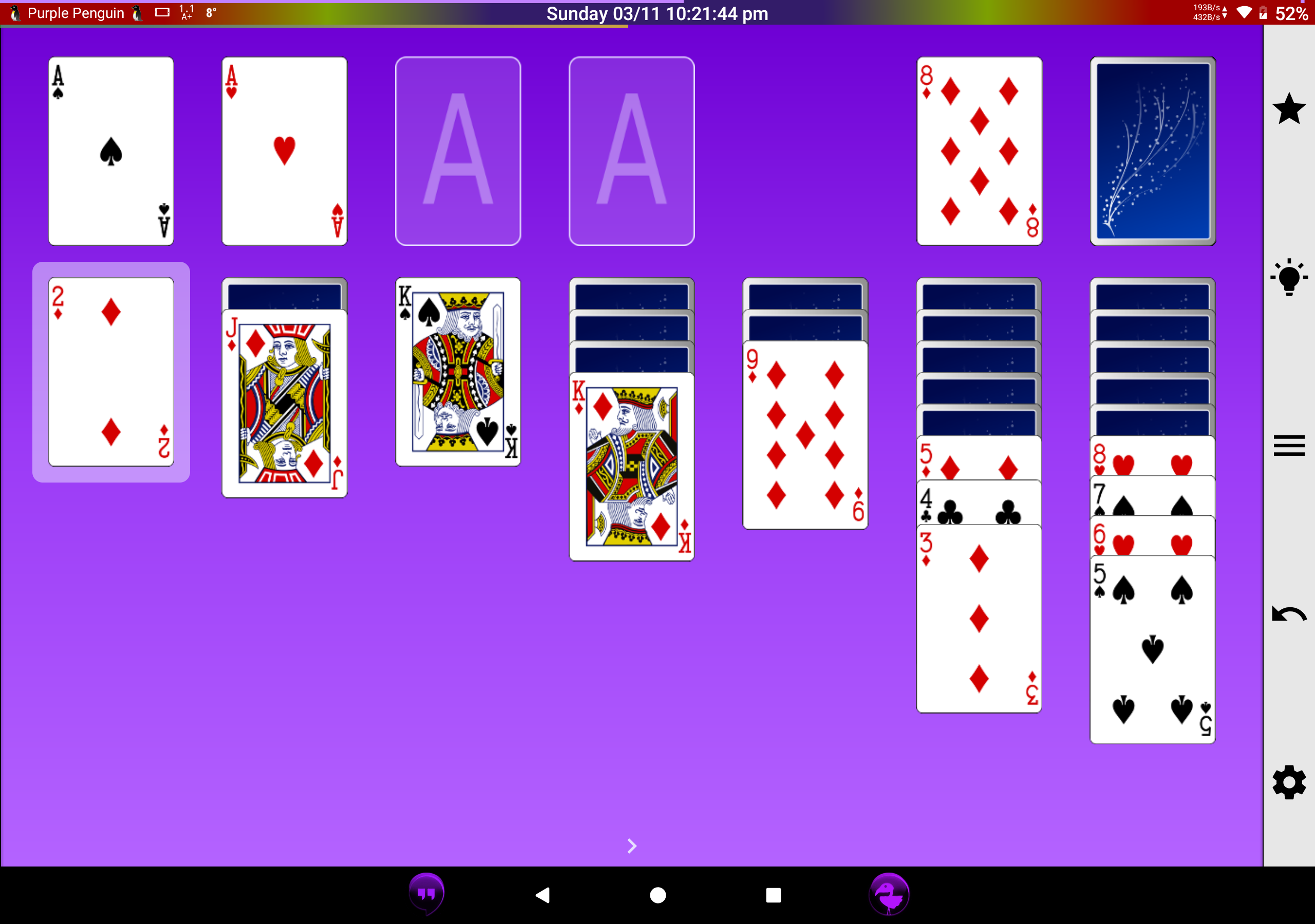 A screenshot of a game of Klondlike (Patience)