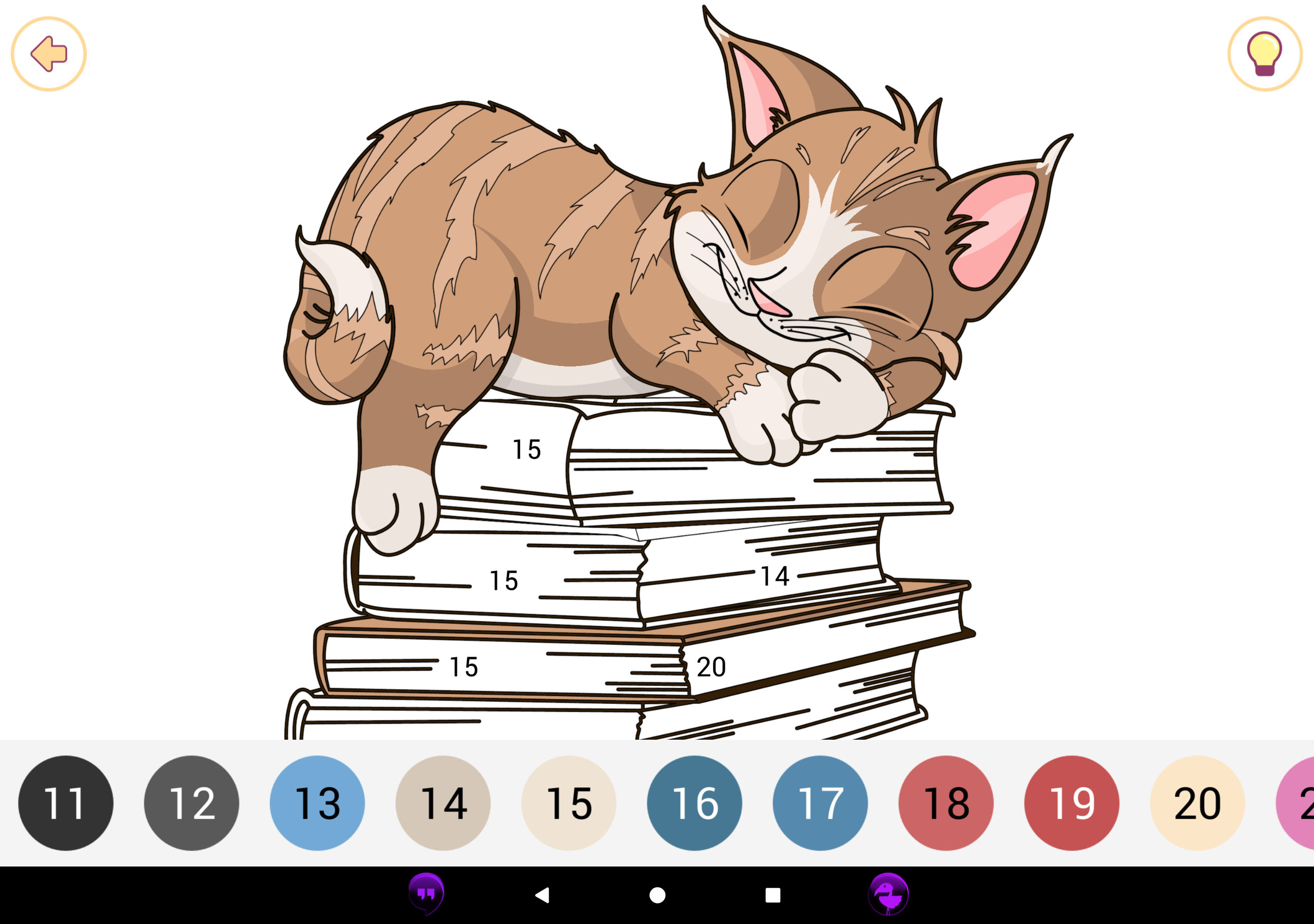 A partially coloured in picture of a cat sleeping on a pile of books