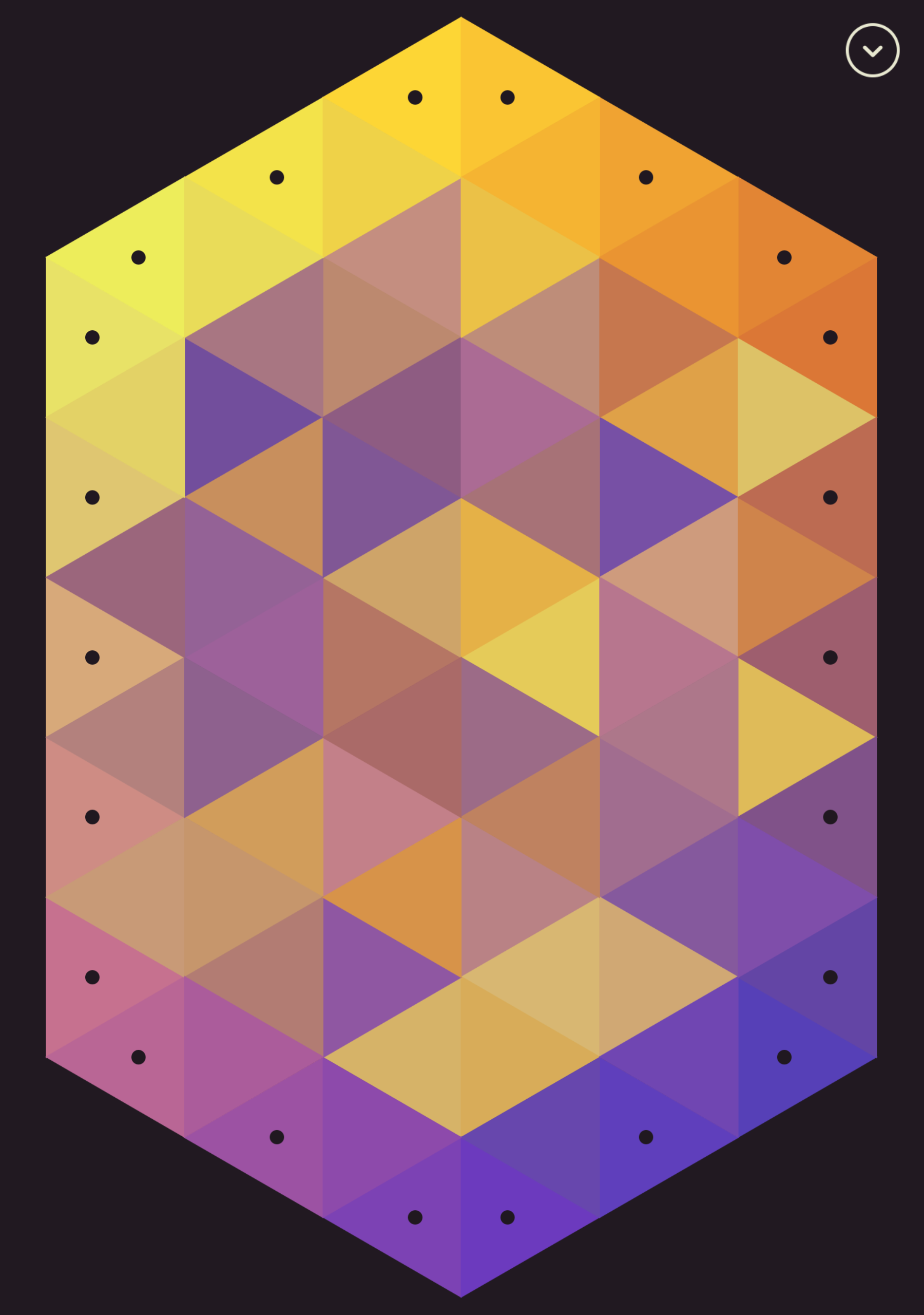 A grid of different coloured triangles