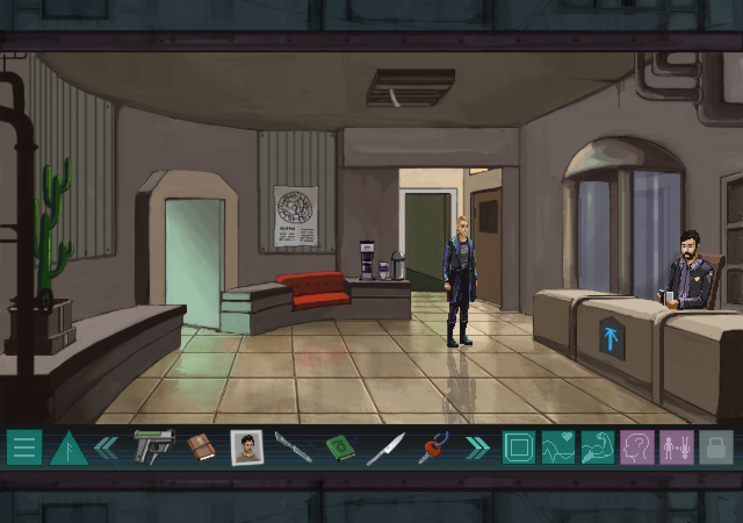A screenshot of Whispers of a Machine. It shows a futuristic police station in a gritty, pixel art style with the main protagonist in the centre. She is white with short blonde hair.