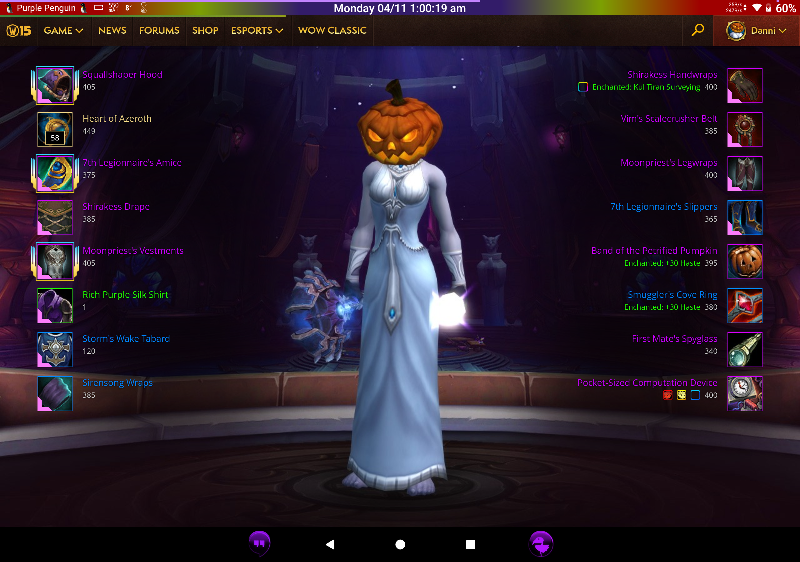 A screenshot of Danni's profile page. In the centre is a night elf, wearing a pumpkin that covers her entire head, a white robe, and carrying a fancy glowing mace and a purple glowing orb. Around the outside the equipment she's wearing is detailed.
